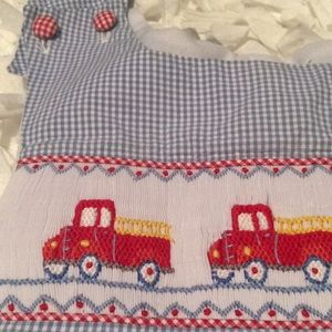Shrimp and Grits smocked coveralls size 18 months